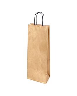 sacos sos com asas 1 garrafa 100 g/m2 14+8x40 cm dourado kraft (250 unidade)