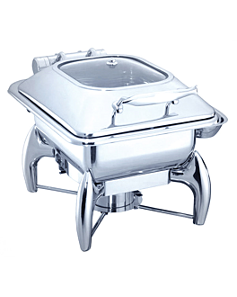 square chafing dish 4 l 45,5x32x34 cm silver stainless steel (1 unit)
