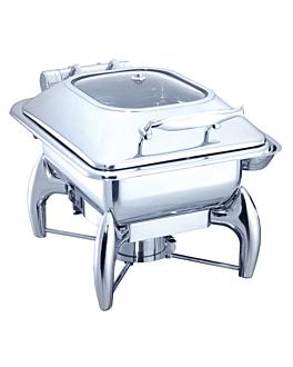 chafing dish carrÉ 4 l 45,5x32x34 cm argente inox (1 unitÉ)