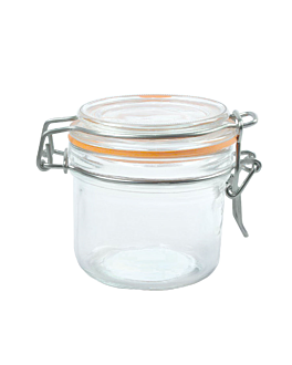 storage jar + clip lid 200 ml Ø 8,3x8,5 cm clear glass (48 unit)