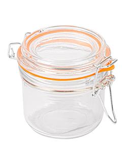 storage jar + clip lid 200 ml Ø 8,3x8,5 cm clear glass (48 unit)