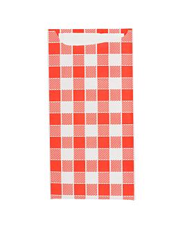 bolsas cubiertos + servilleta 'just in time - vichy' 90 + 10 pe g/m2 11,2x22,5 cm blanco celulosa (400 unid.)