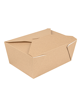 microwavable boxes rectangular 'thepack' 2880 ml 240 + 12pp gsm 19,8x14x9 cm natural nano-micro corrugated cardboard (200 unit)