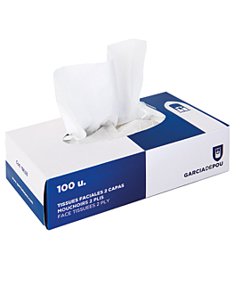 100 u. facial tissues 2 ply 20x20 cm white cellulose (1 unit)