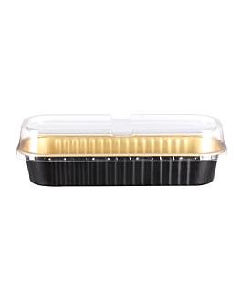 recipientes pastelerÍa 200 ml 16,5x6,5x3 cm oro/negro aluminio (100 unid.)