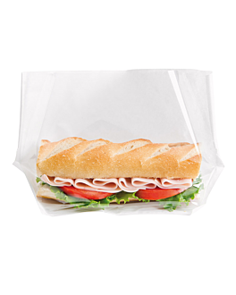 bags with base and window 'turtle pack' 50 gsm + 15 pp 27x16x5,5/2,5 cm white kraft (100 unit)