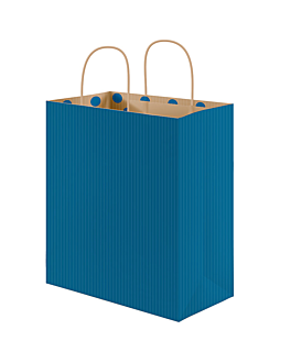"bolsas sos con asas - int.""topos"" 80 g/m2 32+16x31 cm azul kraft (250 unid.)"