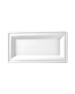 pratos retangulares 'bionic' 26x13 cm branco bagaÇo (500 unidade)