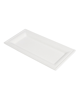 piatti rettangolari 'bionic' 26x13 cm bianco bagassa (500 unitÀ)