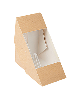sandwich boxes w/window - double 'thepack' 220 gsm + opp 12,4x12,4x7,5 cm natural nano-micro corrugated cardboard (500 unit)