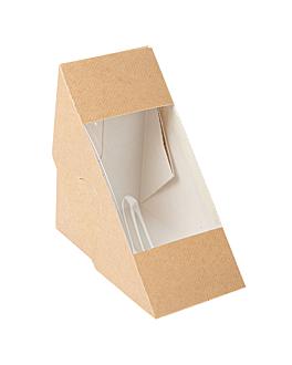 scatole per panini con finestra - doppio 'thepack' 220 g/m2 + opp 12,4x12,4x7,5 cm naturale cartone ondulato a nano-micro (500 unitÀ)
