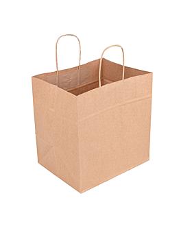 sos bags with handles 90 gsm 26+20x27 cm natural kraft (250 unit)