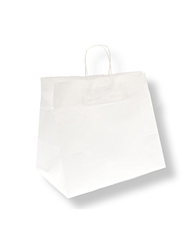 sos bags with handles 90 gsm 32+21x28,5 cm white cellulose (250 unit)