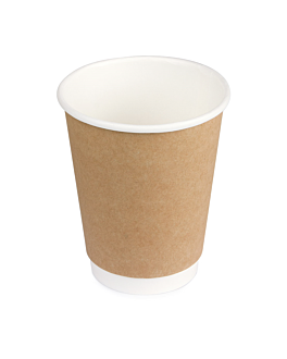 double wall cups 360 ml 260 + 250 + 18 pe g/m2 Ø9/6x11 cm brown cardboard (1000 unit)