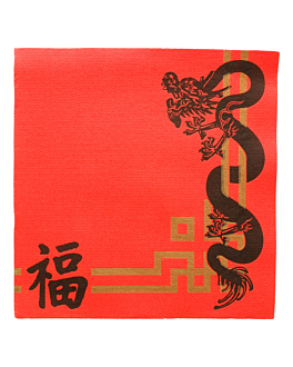 serviettes ecolabel 'double point - china' 18 g/m2 40x40 cm rouge ouate (1200 unitÉ)