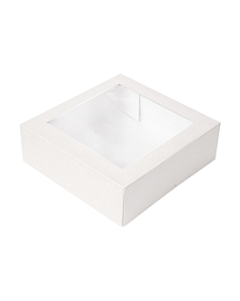 cake boxes with window 'thepack' 250 gsm + opp 23x23x7,5 cm white nano-micro corrugated cardboard (200 unit)
