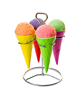 stainless steel stands + 4 ice cream cones Ø 7x14,8 cm assorted porcelain (6 unit)