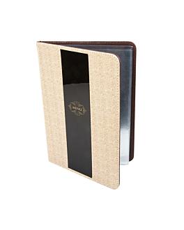 porte menu 8 pochettes din-a4 22x31 cm gris pvc (1 unitÉ)