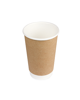 double wall cups 480 ml 260 + 250 + 18 pe g/m2 Ø9/6x13 cm brown cardboard (1000 unit)