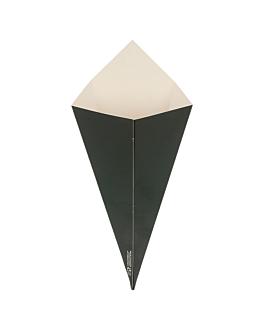 cÔnes pour fritures 100 g 250 g/m2 12,5x22 cm noir carton (1600 unitÉ)