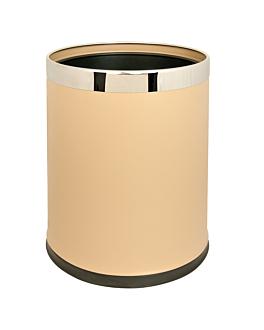 room paperbin, round 'deluxe' 9 l Ø 22,5x27 cm almond steel (1 unit)