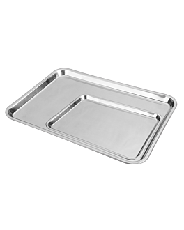 trays without handles 31x24 cm silver stainless steel (1 unit)