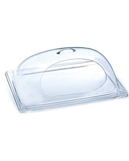 cÚpula ovalada abierta central 25,5x30,5x14 transparente acrÍlico (1 unid.)