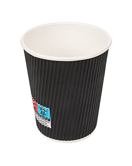 double wall corrugated cups for hot drinks 240 ml 280 + 250 + 18 pe g/m2 Ø8/5,6x9,2 cm black cardboard (825 unit)