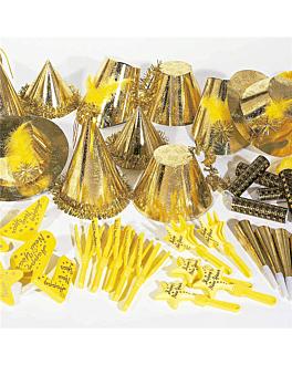 surtido cotillon hologrÁfico 20 personas  oro (1 unid.)