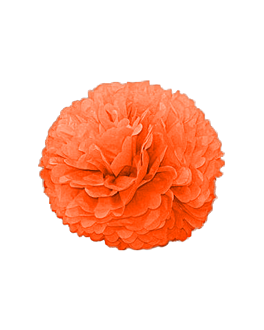 pom pom flower Ø 35 cm naranja (10 unid.)