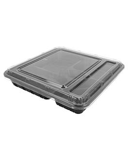 coffrets À emporter 5 compart. 27,8x27,6x5 cm noir pp (200 unitÉ)