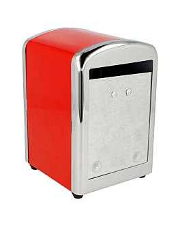dispensador servilletas mini servis 10,5x9,7x14 cm rojo inox (12 unid.)