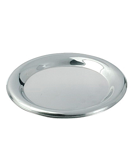tip plates Ø 14 cm silver stainless steel (1 unit)