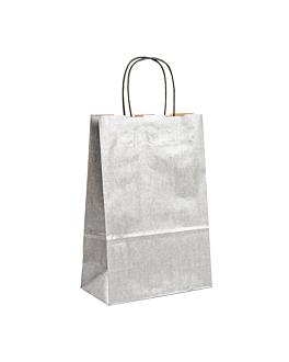 sacos sos con asas 80 g/m2 26+14x32 cm plateado kraft (250 unid.)