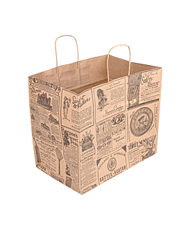 "sos bags with handles ""traiteur"" 'times' 90 gsm 32+21x28,5 cm natural kraft (250 unit)"