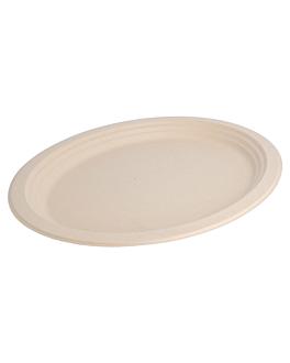 assiettes ovales 'bionic' 32x25,5x2,1 cm naturel bagasse (500 unitÉ)