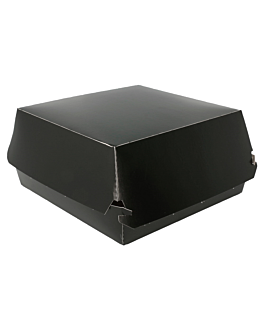 conchas hamburguesa jumbo 250 g/m2 14x12,5x8 cm negro cartoncillo (50 unid.)