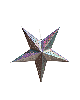 estrellas colgantes Ø 60 cm plateado papel (10 unid.)