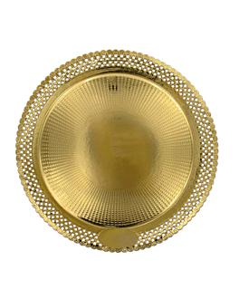 assiettes dentelÉes 'erik' 1200 g/m2 + 300 g/m2 pp Ø 38 cm dore carton (100 unitÉ)