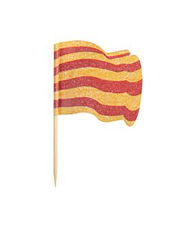 """petits drapeaux """"catalugna"""" 4x3/6,5 cm assorti bois (144 unitÉ)"""
