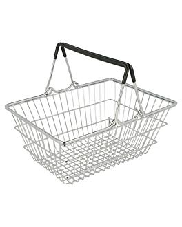 mini cestas de compra 18,5x13,5x9 cm cromado acero (6 unid.)