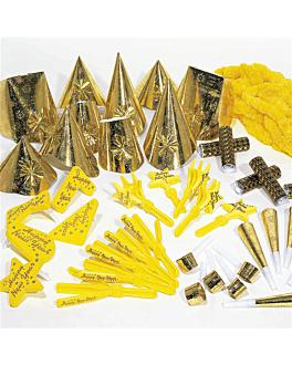 surtido cotillon hologrÁfico 10 personas  oro (1 unid.)
