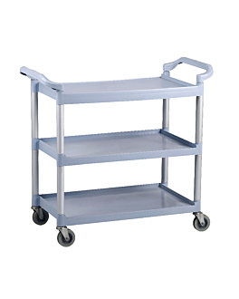 service trolley 3 shelves 103,5x49x95 cm grey pehd (1 unit)