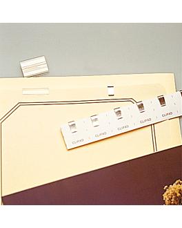 10 u. metallic clips on adhesive paper 27x2,8 cm silver metal (1 unit)