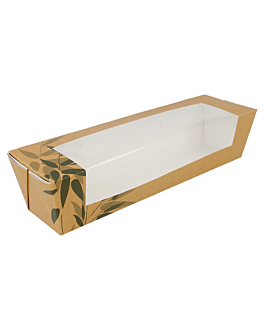 cajas sÁndwiches con ventana - baguette 'feel green' 300 g/m2 26x6,5x6,2 cm marrÓn cartoncillo (45 unid.)