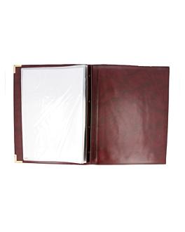 porte menu 8 pochettes din-a4 25,5x33 cm bordeaux pvc (1 unitÉ)