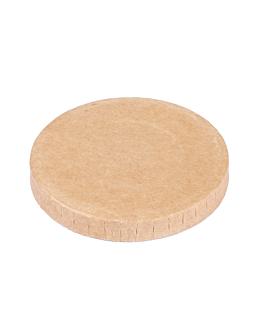 tapas para pequeÑas tarrinas 230 + 18 pe g/m2 Ø6,2 cm marrÓn cartoncillo (1000 unid.)