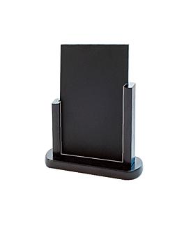 pizarra / cartel sobremesa 24x28,5 cm negro madera (1 unid.)