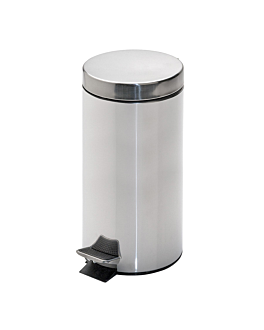 pedal bin with interior receptacle 12 l Ø 25x38 cm silver stainless steel (1 unit)