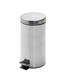 poubelle À pedale avec rÉceptacle intÉrieur 12 l Ø 25x38 cm argente inox (1 unitÉ)